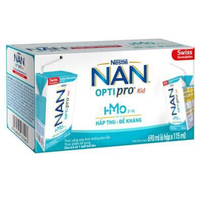 Sữa dinh dưỡng pha sẵn Nestlé NAN OPTIPRO Kid 115ml (lốc 6 hộp)