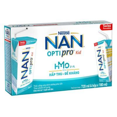 Sữa dinh dưỡng pha sẵn Nestlé NAN OPTIPRO Kid 180ml (Lốc 4 hộp)