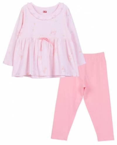 Bộ áo quần thun mặc nhà bé gái dài CF G1020038 (1-6 Tuổi ,Hồng)
