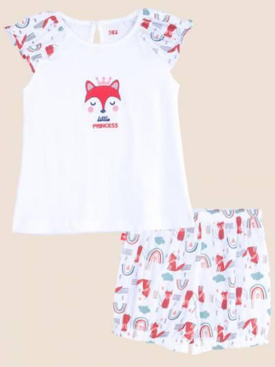 Bộ áo quần bé gái ngắn MON CF G0221007 (6-24M,Trắng)