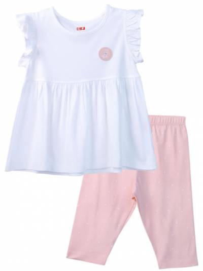 Bộ áo quần thun mặc nhà bé gái ngắn CF G1020040 (1-6 Tuổi,Trắng)
