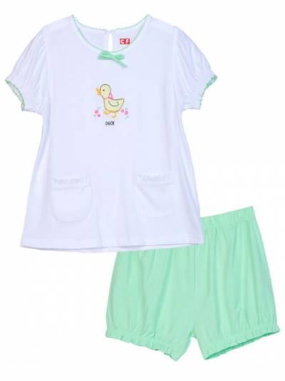 Bộ thun mặc nhà bé gái ngắn CF G0820011 Trắng