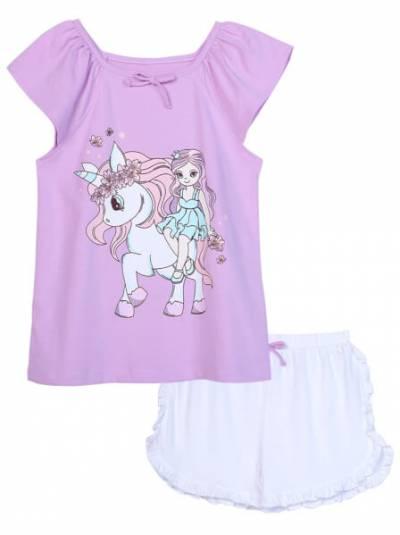 Bộ thun mặc nhà bé gái ngắn CF G0820012 Tím
