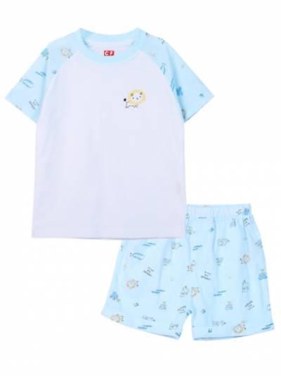 Bộ áo quần thun bé trai ngắn CF B0820014 (5-6Y,Xanh)
