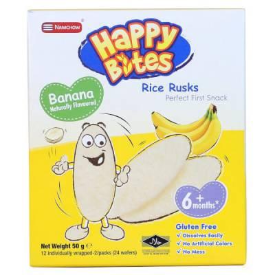 Bánh Gạo Ăn Dặm Cho Trẻ Em Happy Bites Chuối 50g