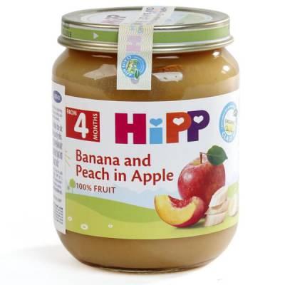 Dinh dưỡng đóng lọ HiPP Organic - Chuối, đào, táo 125g