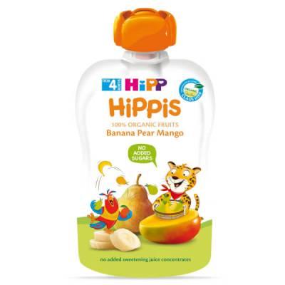 Dinh dưỡng 100% trái cây nghiền hữu cơ HiPPiS Organic (Chuối, Lê, Xoài)