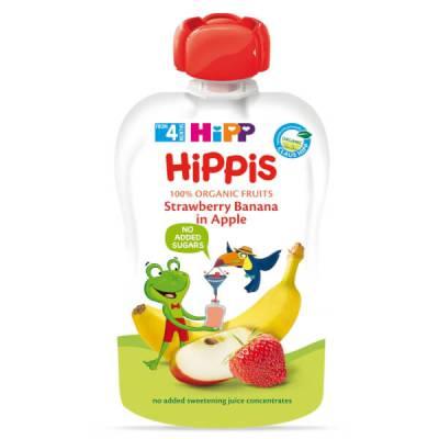 Dinh dưỡng 100% trái cây nghiền hữu cơ HiPPiS Organic (Dâu tây, Chuối, Táo)