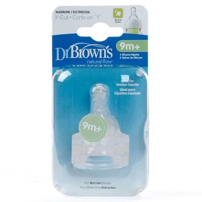 Núm ty bình sữa cổ hẹp Dr Brown's 2 cái, Y cut