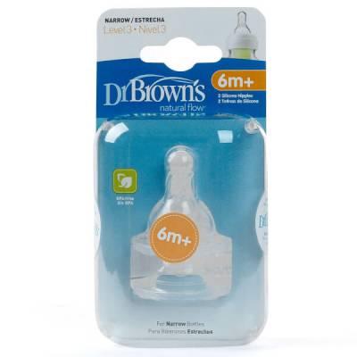 Núm ty bình sữa cổ hẹp Dr Brown's 2 cái, số 3, 6-9M