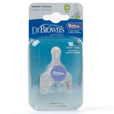 Núm ty bình sữa cổ hẹp Dr Brown's 2 cái, số 4, 9-12M