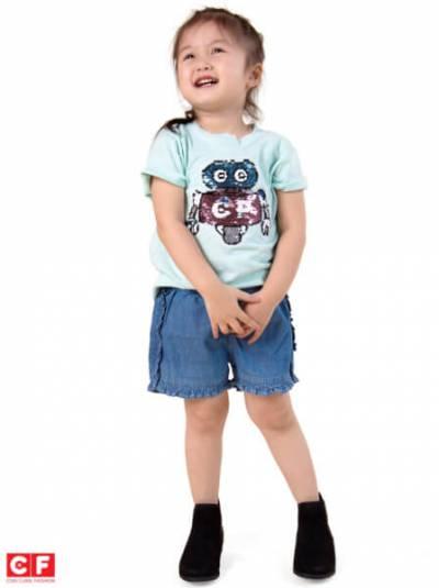 Áo thun bé gái tay ngắn CF G119027 Xanh