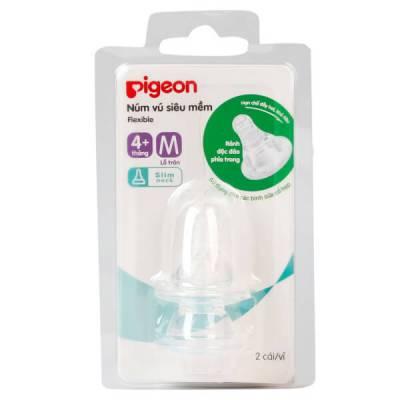 Núm ty thay bình sữa  Pigeon cổ hẹp M (4M+, lỗ tròn)
