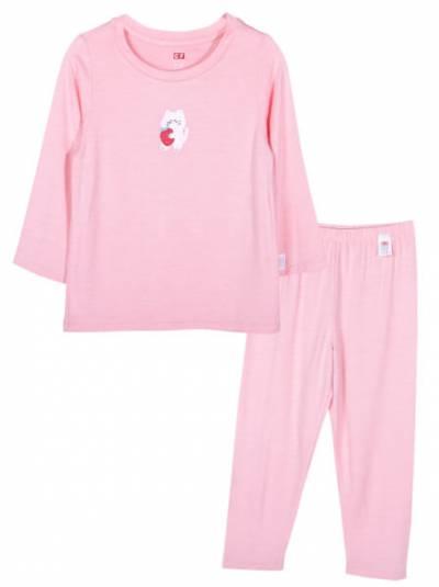Bộ áo quần thun bé gái dài ngủ ngon CF G1220016 (1-6 tuổi,Hồng cam)
