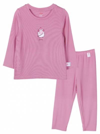 Bộ áo quần thun bé gái dài ngủ ngon CF G1220017 (1-6 tuổi,Hồng)