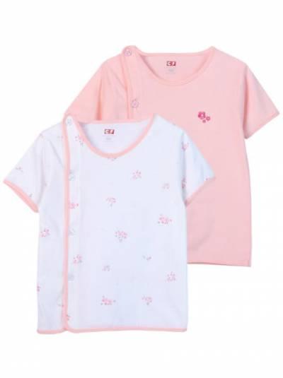 Cặp áo sơ sinh cài chéo tay ngắn CF I0420006 (Hồng)