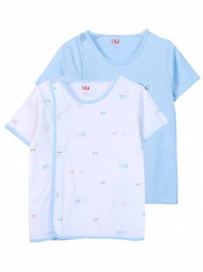 Cặp áo sơ sinh cài chéo tay ngắn CF I0420009 (Xanh dương)