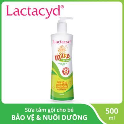 Sữa tắm gội ngừa rôm sảy cho bé  Lactacyd milky 500ml