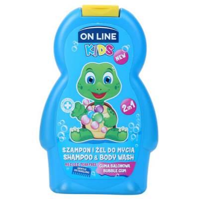 Sữa tắm và gội trẻ em On line Kids  Bubble Gum  250ml - kẹo Gum Xanh biển