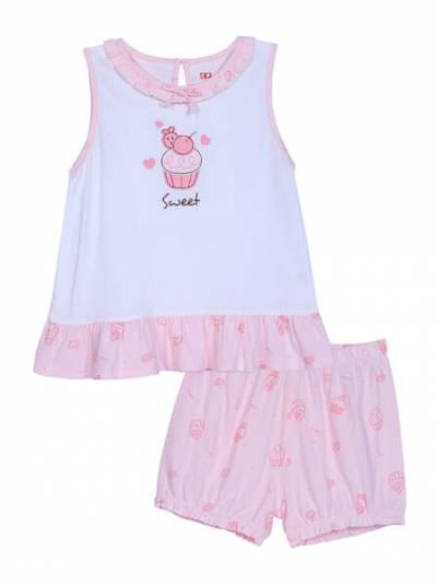 Bộ bé gái ngắn áo sát nách-BST bánh kem CF G0521003 (1-6Y,Trắng)