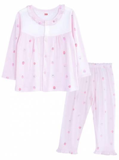 Bộ thun mặc nhà bé gái dài CF G0221002 (1-6Y,Hồng)