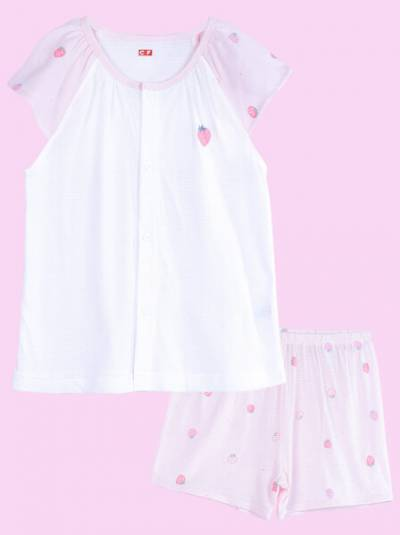 Bộ thun mặc nhà bé gái ngắn CF G0221003 (1-6Y,Trắng)