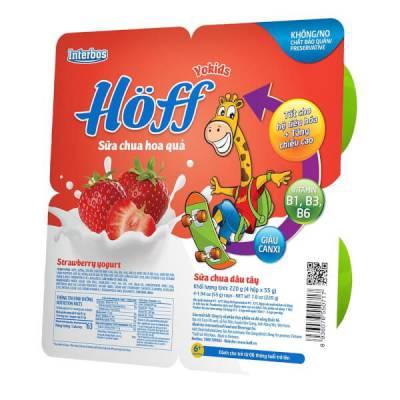 Sữa chua hoa quả Hoff  - Dâu tây (Lốc 4 hủ)