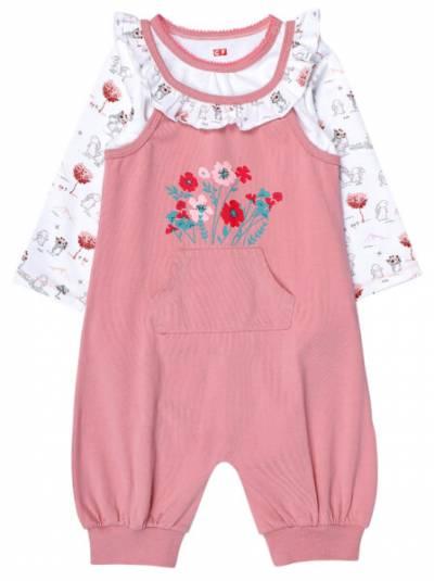 Bộ áo quần thun bé gái dài CF G1220008 (9M-24M,Hồng)