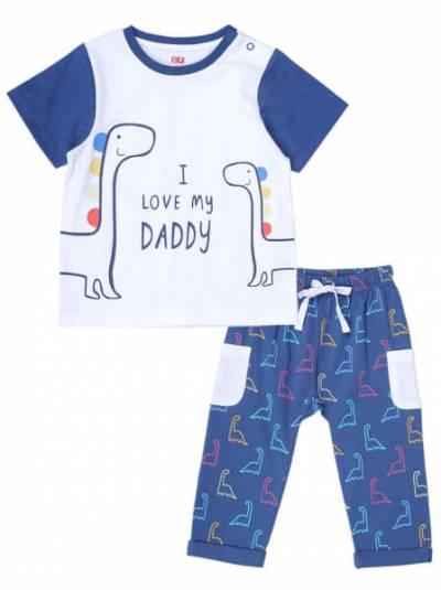 Bộ áo quần thun bé trai ngắn CF B1220032 (9M-24M,Xanh)