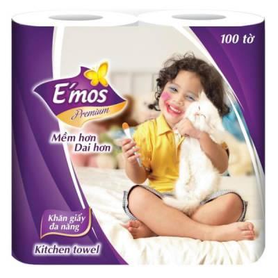 Khăn giấy đa năng 2 lớp E'mos  Premium 2 cuộn