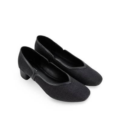 Giày cao gót mũi vuông phối vải tweed BV0012