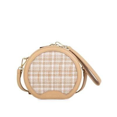 Túi đeo chéo tròn phối vải tweed SD0077