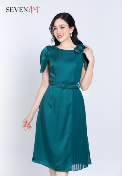 Đầm chiffon xanh phối thắt lưng E52363I