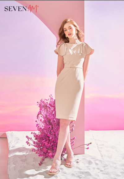 Đầm ôm màu be đính cườm vai C54081C