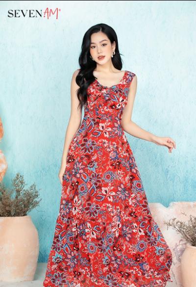 Đầm maxi nền đỏ họa tiết hoa C59804I