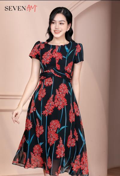 Đầm chiffon nền đen hoa đỏ Y58705D