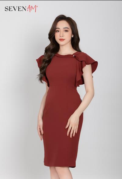 Đầm ôm màu đỏ gạch phối bèo vai E52329C