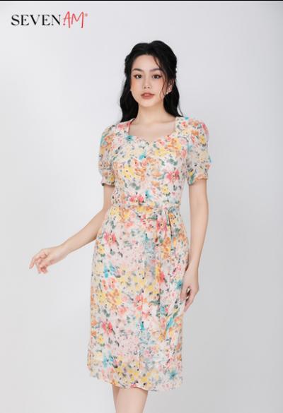 Đầm trắng hoa vàng mã E52260I