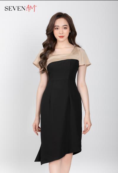 Đầm đen cổ vuông vai phối màu Y52335I