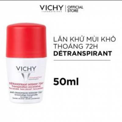 Lăn Khử Mùi Ngăn Mồ Hôi Giữ Khô Thoáng Suốt 72h Vichy Déodorant Detranspirant Intensif 50ml