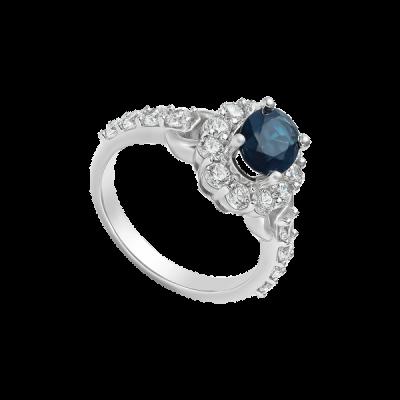 Nhẫn Vàng trắng 14K đính đá Sapphire PNJ SPXMW000425