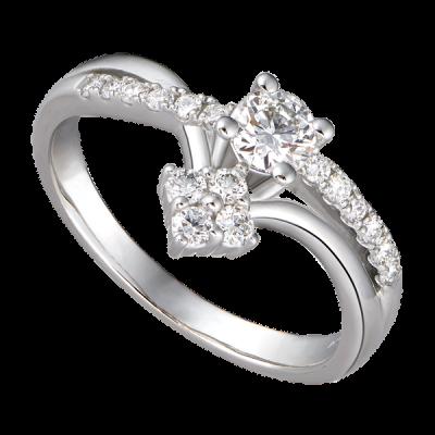 Nhẫn Kim cương Vàng trắng 14K PNJ DDDDW002043