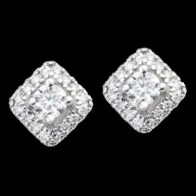 Bông tai Kim cương Vàng trắng 14K PNJ First Diamond DDDDW000676