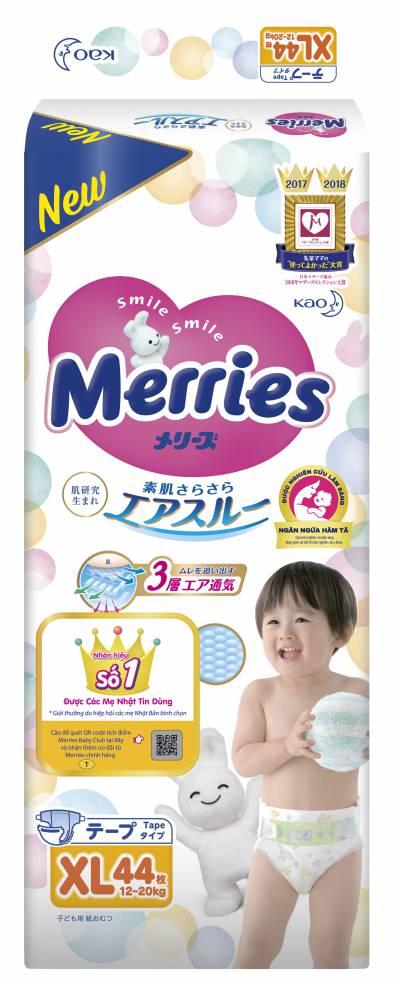 Bỉm dán Merries size XL 44 miếng (12-22kg)