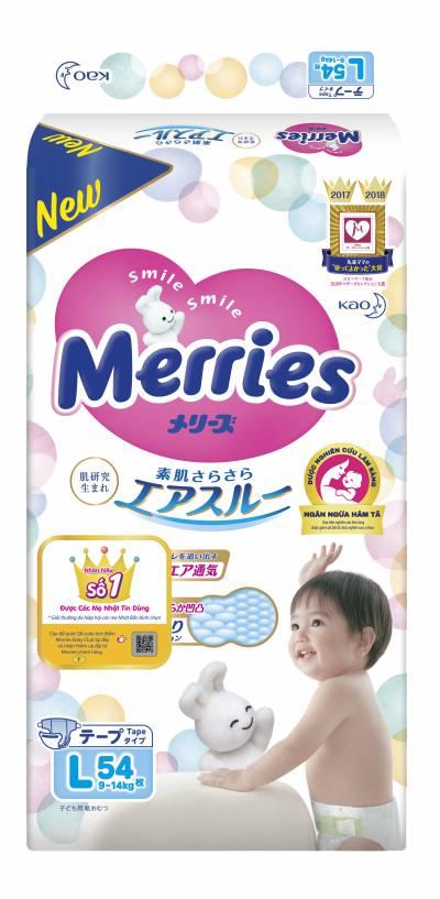 Bỉm dán Merries size L 54 miếng (9-14kg)