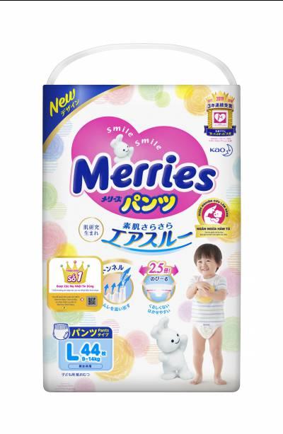 Bỉm quần Merries size L 44 miếng (9-14kg)