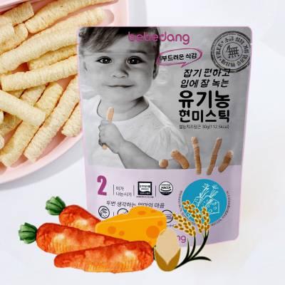 Bánh gạo lứt hữu cơ phô mai cà rốt hình que Bebedang 30g