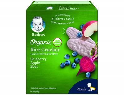 Bánh gạo hữu cơ gerber  organic vị việt quât, táo ,củ cải đỏ 48g
