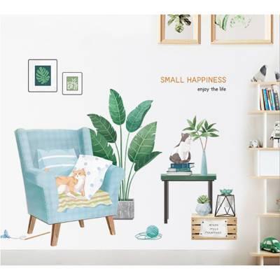Decal Treo Tường Sofa Chậu Cây Xanh Và Mèo