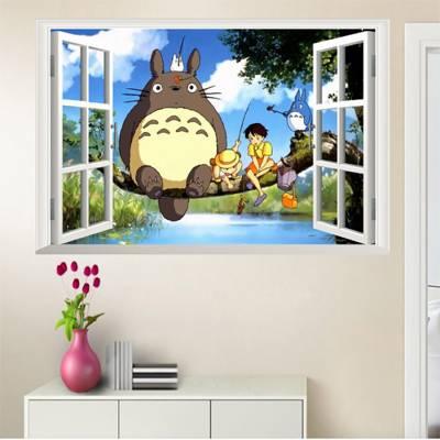 Decal Khung Cửa Sổ Chuột Totoro Và Những Người Bạn